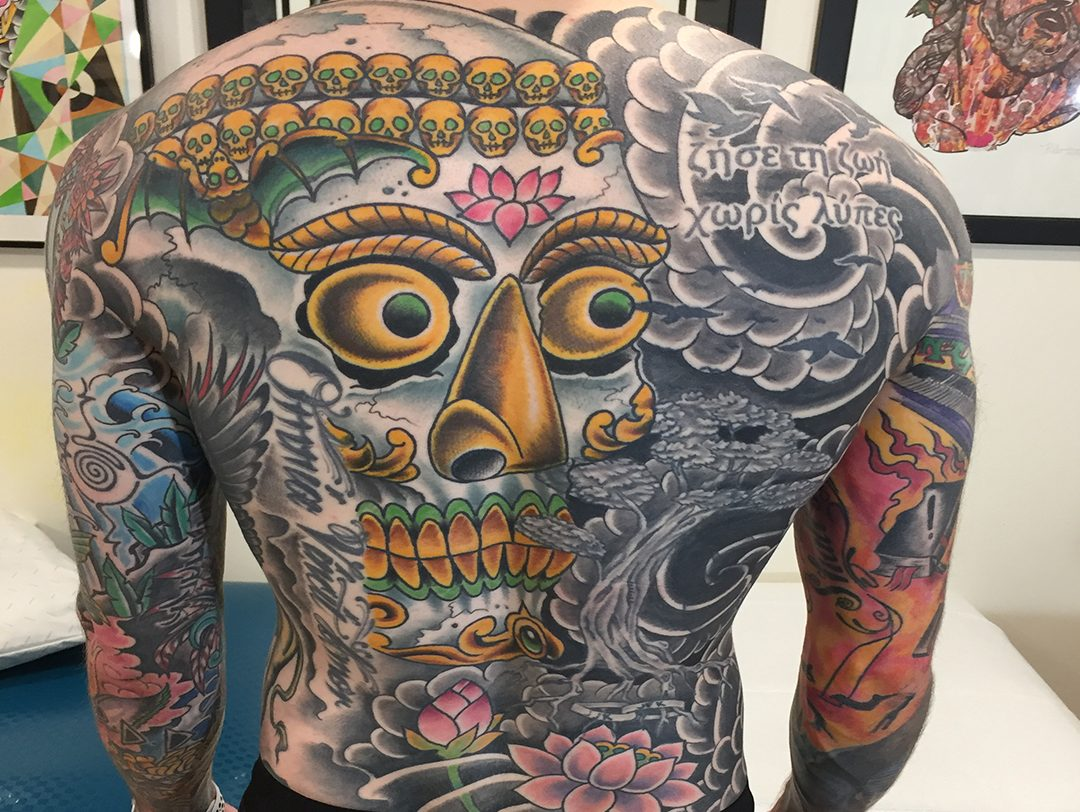 Japanese Skull Back Piece Filler Tattoo