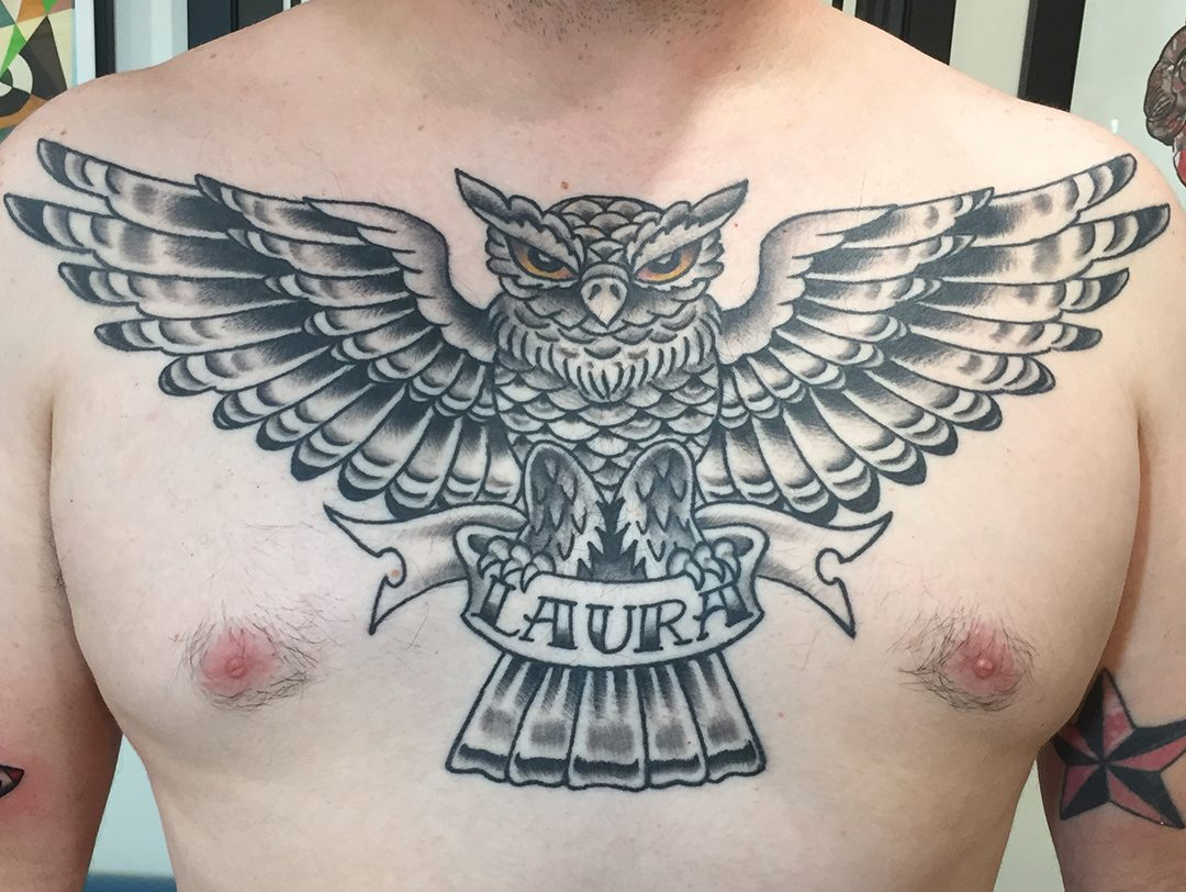 Black and Grey Owl Chest Piece Tattoo
