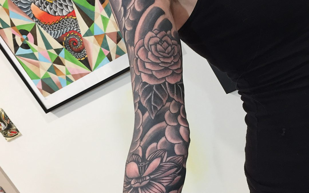 Black and Grey Sleeve Roses and Flowers Tattoo 03