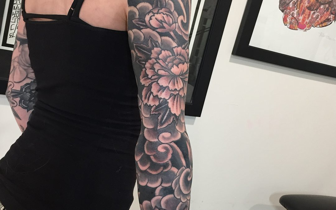 Black and Grey Sleeve Roses and Flowers Tattoo 01
