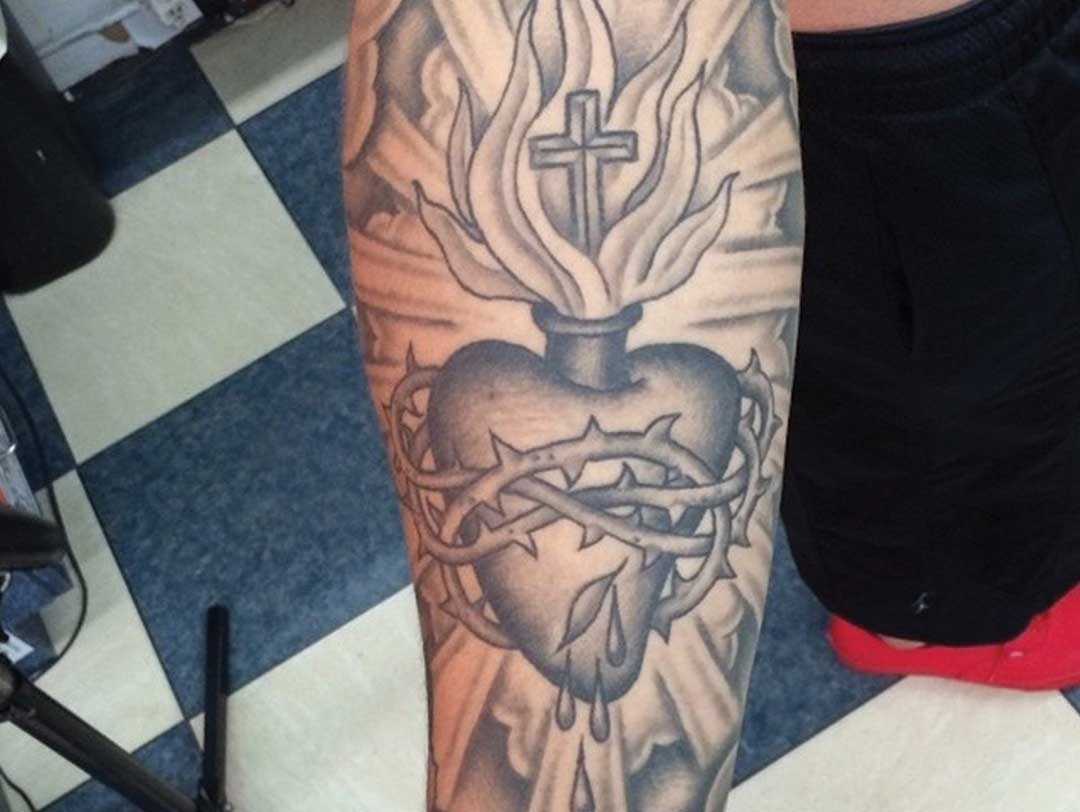 BNG SLEEVE CROWN OF THORNS FLAMING HEART