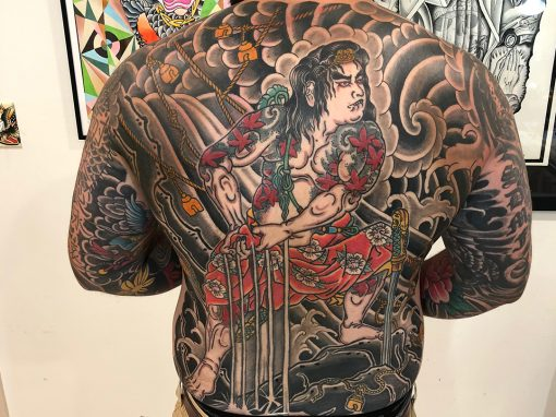 Japanese Back Piece Tattoo Samurai Washing on Rock 02