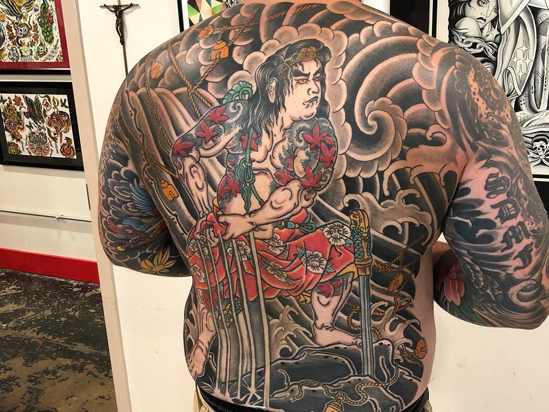 Japanese Back Piece Tattoo Samurai Washing on Rock 01