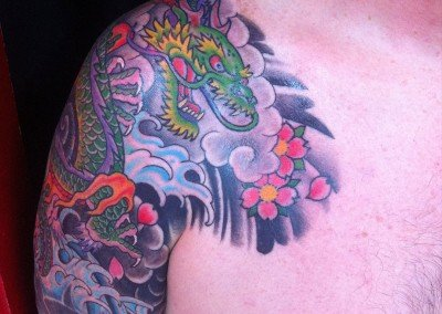 JAPANESE DRAGON HALF SLEEVE COVER UP