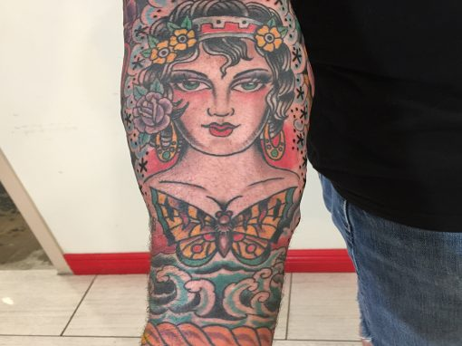 Traditional American Maiden Butterfly Sleeve Tattoo
