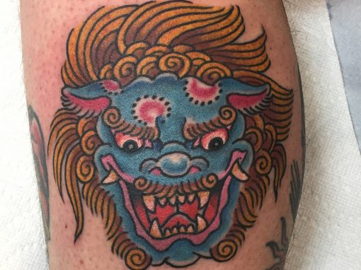 Japanese Chinese Lion Head Tattoo