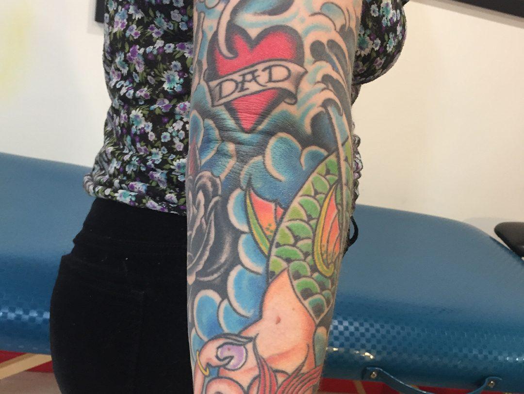 Traditional American Mermaid Heart Sleeve Tattoo 02