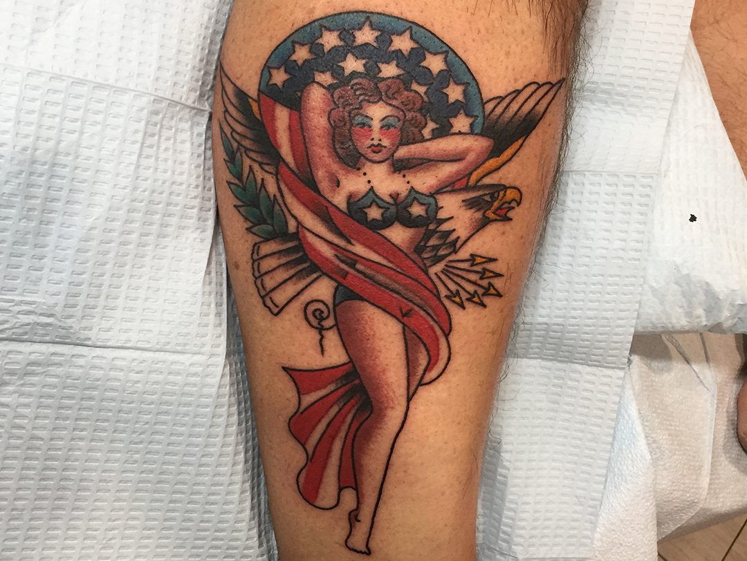 Traditional American Sailor Jerry Pin Up Eagle American Flag Tattoo