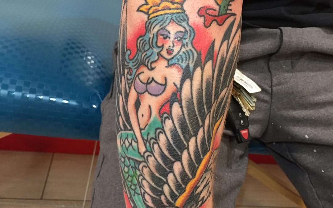 Traditional American Tattoo Rose of No Mans Land Mermaid Eagle 02